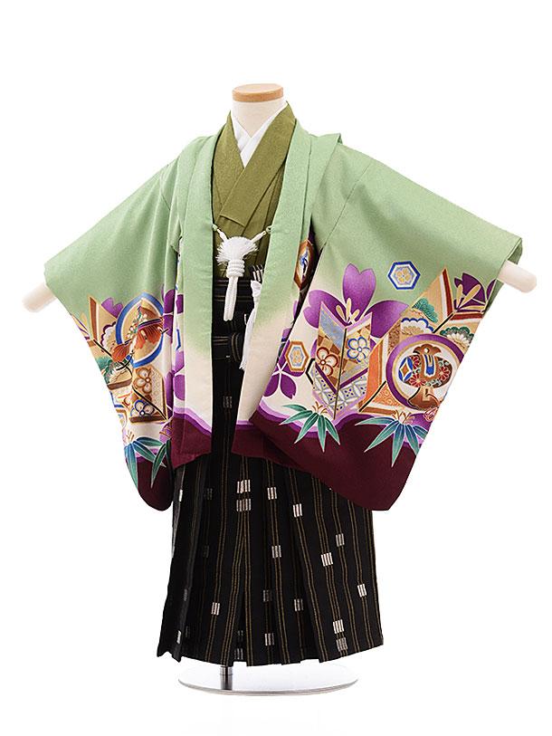 簡単七五三(3歳男袴)2297 うすグリーン裾紫かぶと×黒袴