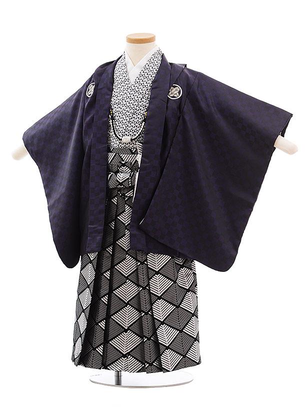 七五三(3.4歳男袴)2300 花わらべパープル市松×黒シルバー袴