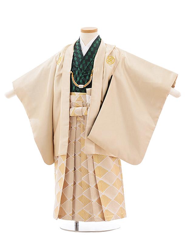 かんたん七五三(3.4歳男袴)2301 花わらべベージュ×白ゴールド袴