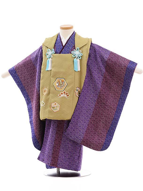 七五三(3歳男被布) 正絹 2303 抹茶色 亀甲×パープル 変わり縞