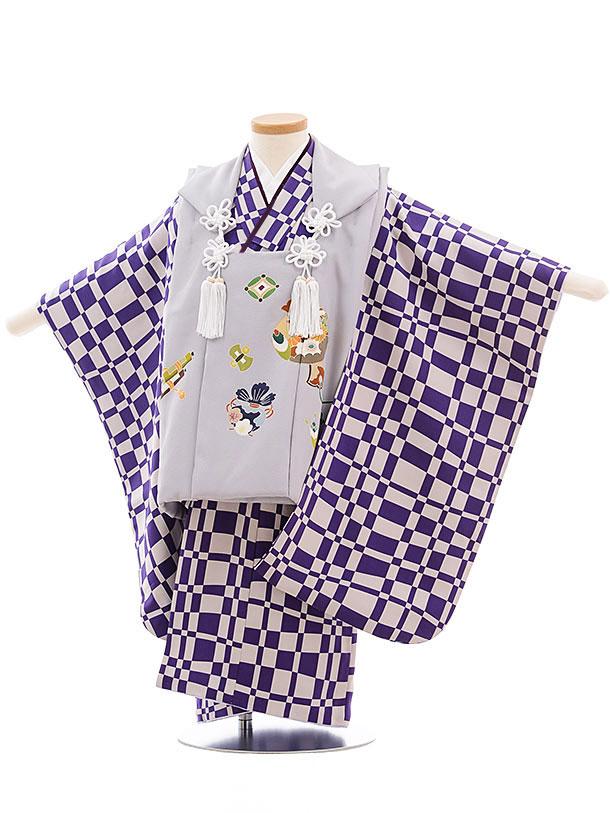 七五三レンタル(3歳男児被布) 正絹 2304 淡グレー寿柄×パープル格子