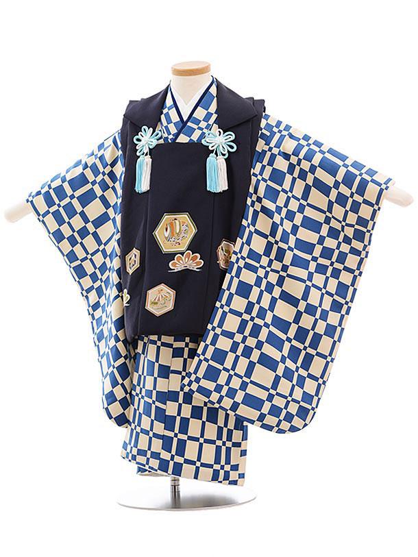 七五三(3歳男被布) 正絹 2308 チャコールグレー地 亀甲×ブルー格子