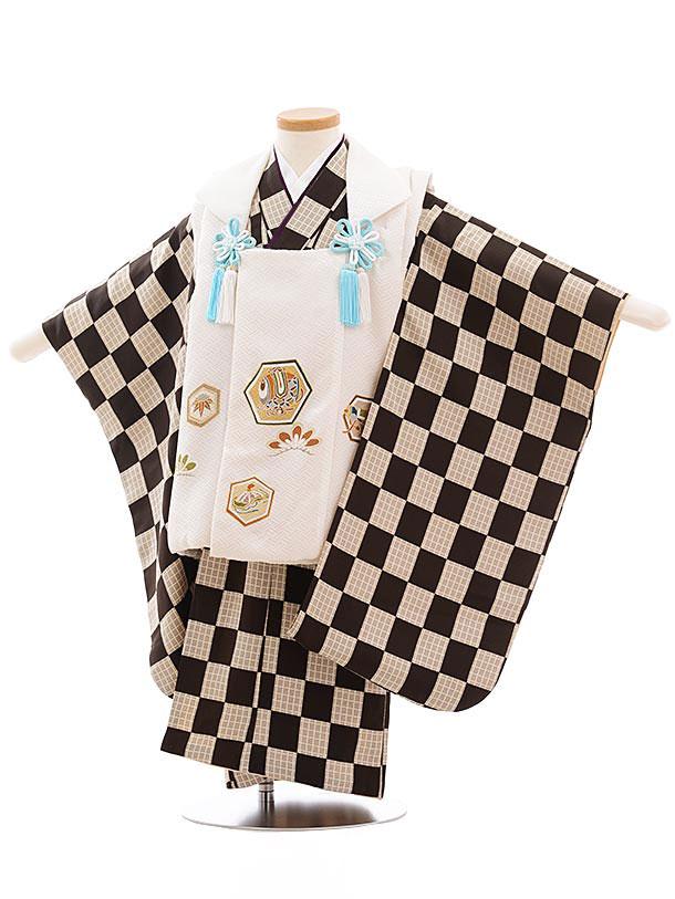 七五三レンタル(3歳男児被布) 正絹 2310 白地 亀甲×ブラウン市松