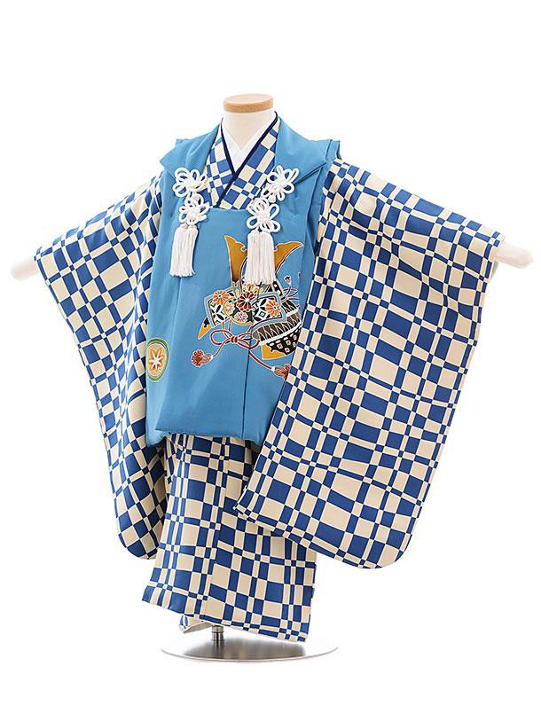 七五三レンタル(3歳男児被布) 正絹 2311 ブルー地 かぶと×ブルー格子