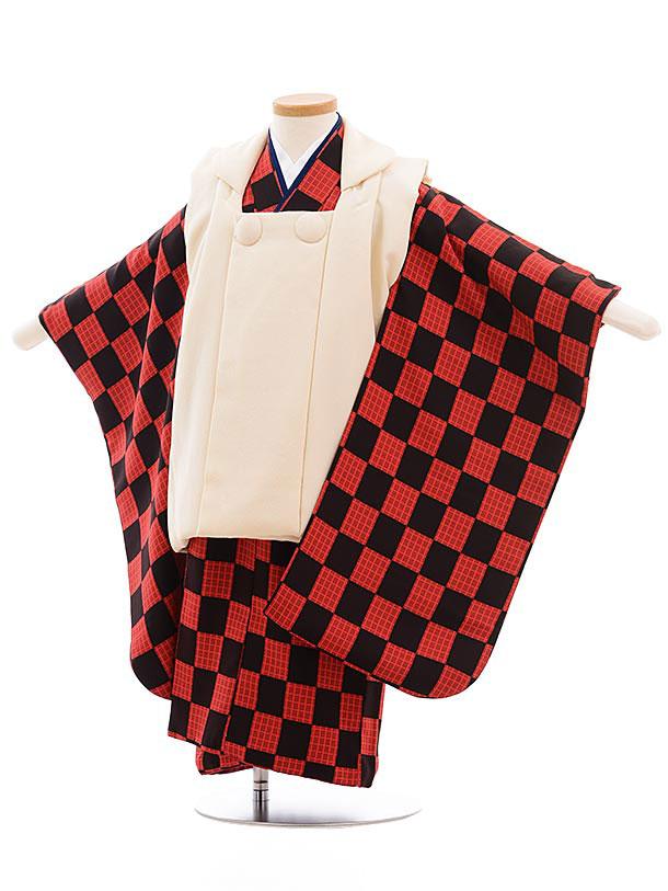 七五三レンタル(3歳男児被布) 正絹 2312 クリーム色×黒赤市松