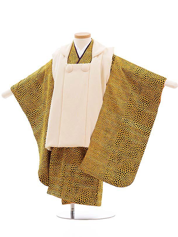 七五三レンタル(3歳男児被布)正絹 2314 クリーム色×からし レオパード