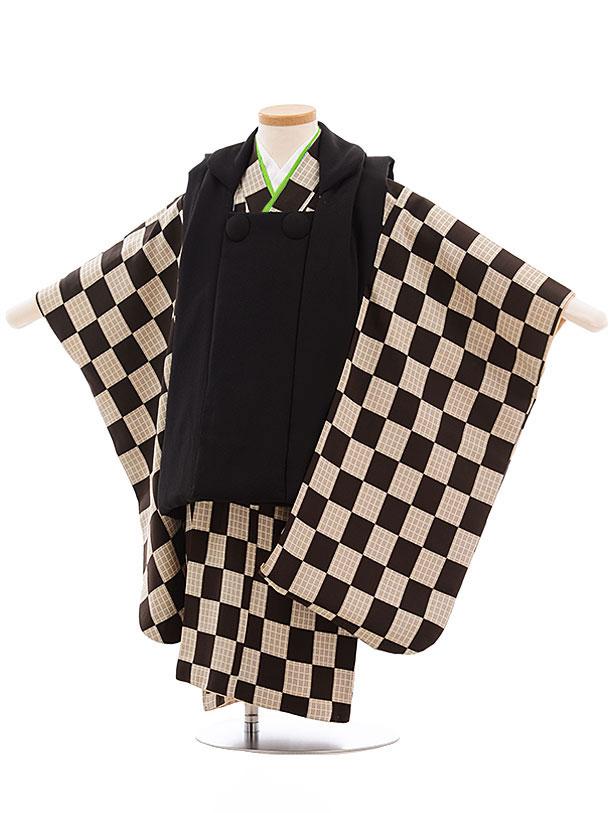 七五三レンタル(3歳男児被布) 正絹 2316 黒×ブラウン市松