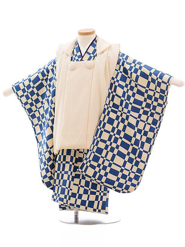七五三レンタル(3歳男児被布) 正絹 2318 クリーム色×ブルー格子