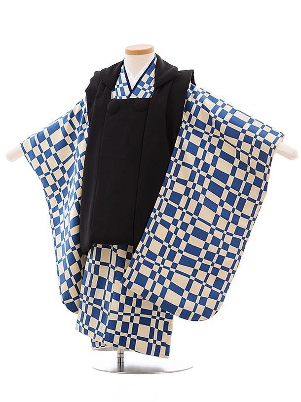 七五三レンタル(3歳男児被布) 正絹 2319 黒×ブルー格子
