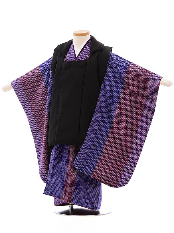 七五三レンタル(3歳男児被布) 正絹 2321 黒×パープル変わり縞