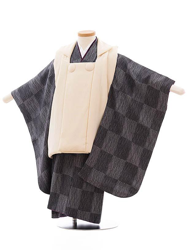 七五三レンタル(3歳男児被布) 正絹 2322 クリーム色×グレー 市松