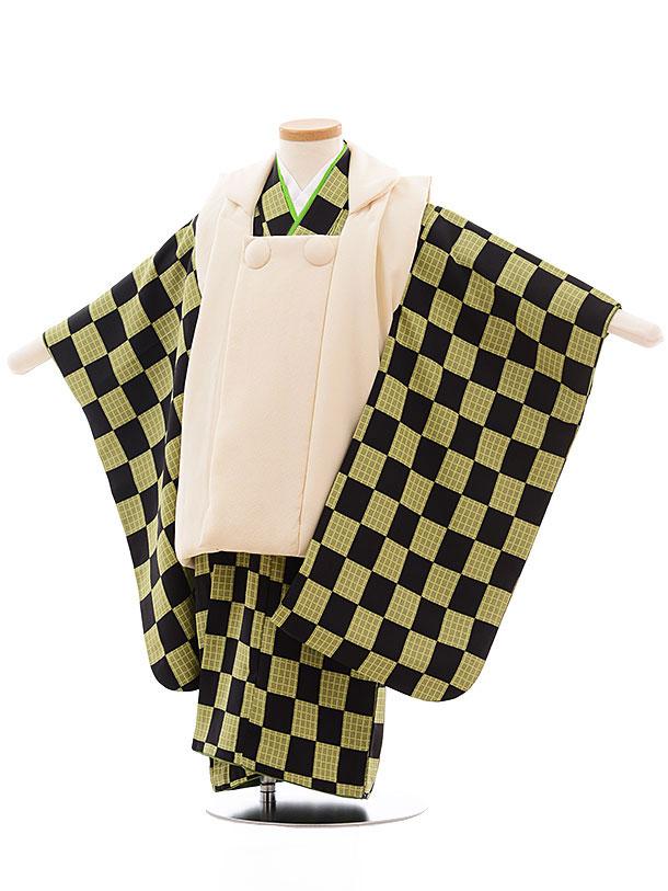 七五三レンタル(3歳男児被布) 正絹 2323 クリーム色×黒グリーン市松