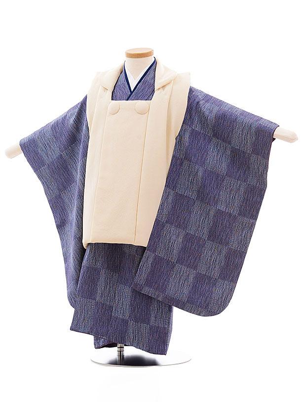 七五三レンタル(3歳男児被布) 正絹 2324 クリーム色×パープル市松