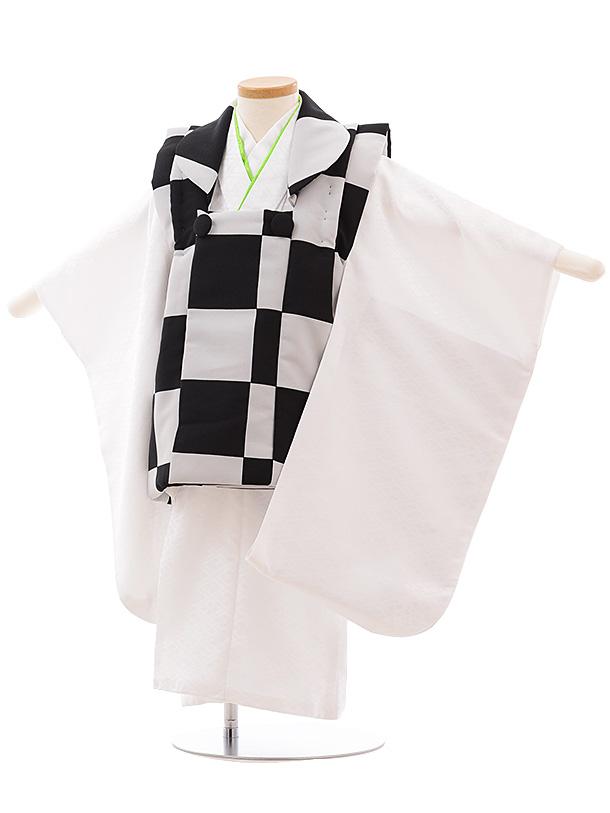 七五三レンタル(3歳男児被布) 2342 黒グレー市松×白