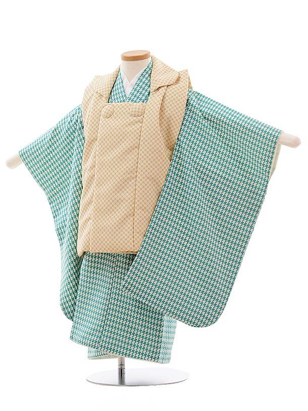 七五三レンタル(3歳男児被布)2343 クリーム色×グリーン 千鳥格子