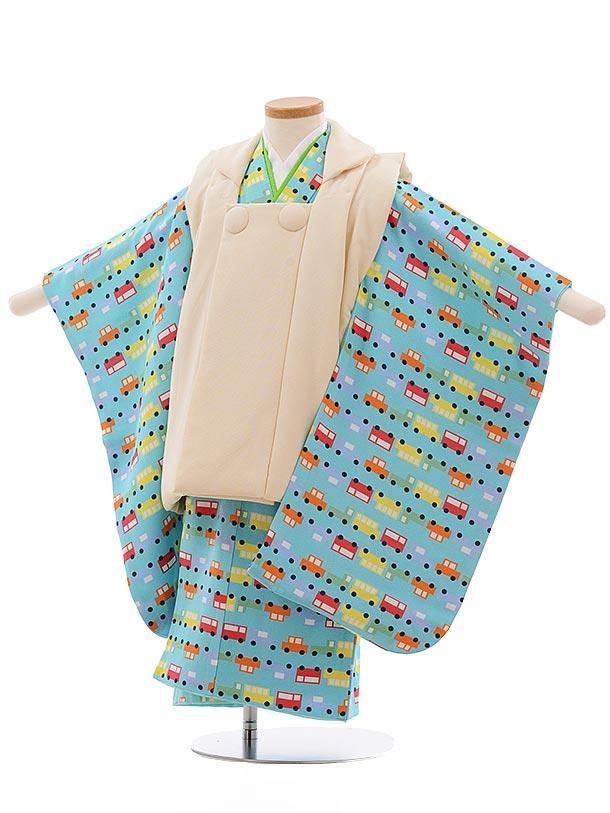 七五三レンタル(3歳男児被布)2352 正絹 クリーム色×水色 くるま