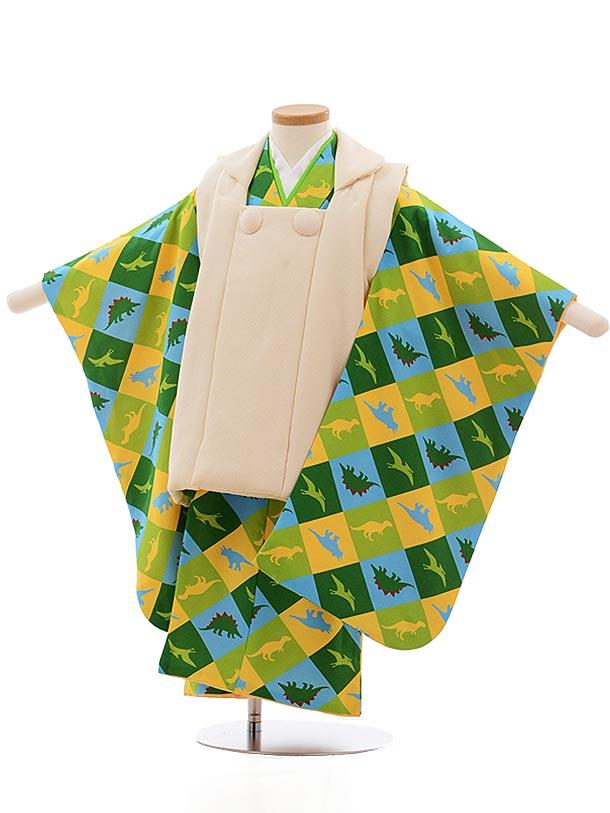 七五三レンタル(3歳男児被布)2353 正絹 クリーム色×グリーン 恐竜