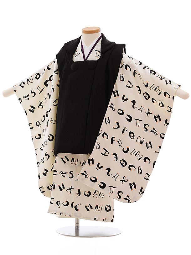 七五三(3歳男被布)2354正絹 黒×オフホワイトペンギンアルファベット
