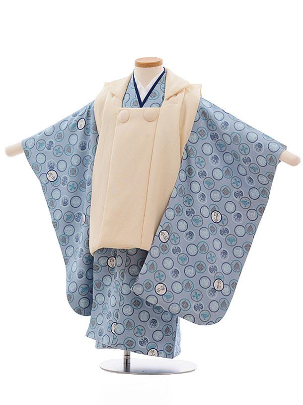 七五三(3歳男児被布)2355 正絹 クリーム色×ブルーグレー地 令和