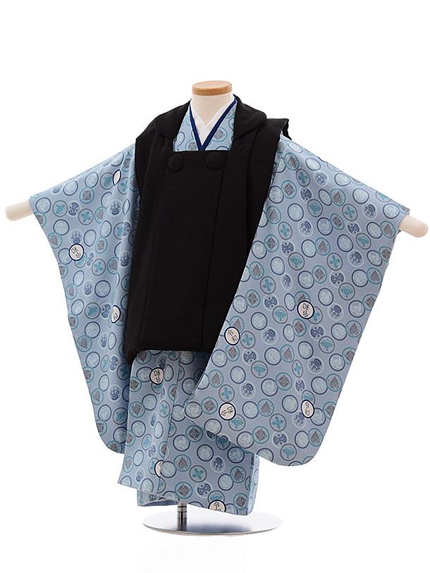 七五三レンタル(3歳男児被布)2356 正絹 黒×ブルーグレー地 令和