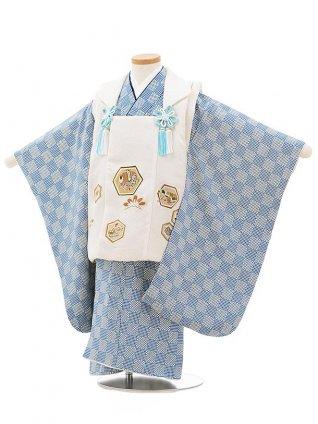七五三レンタル(3歳男児被布)正絹2395白亀甲小槌×ブルー地変わり市松