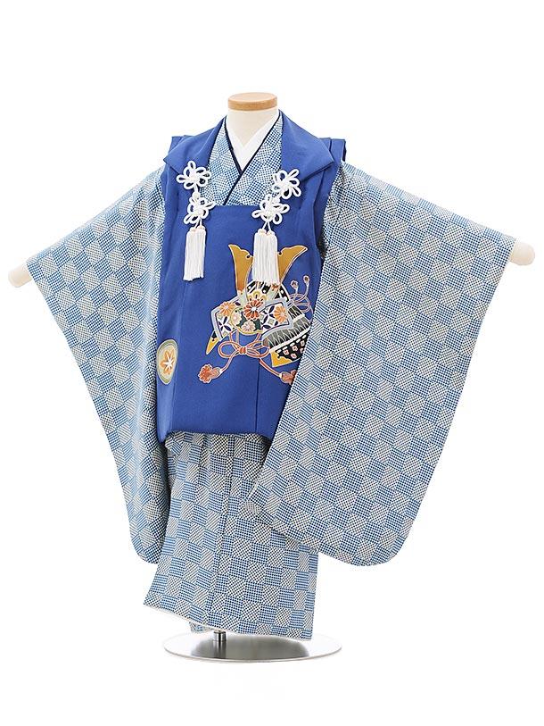 七五三レンタル(3歳男児被布)正絹2397ブルーかぶと×ブルー地変わり市松