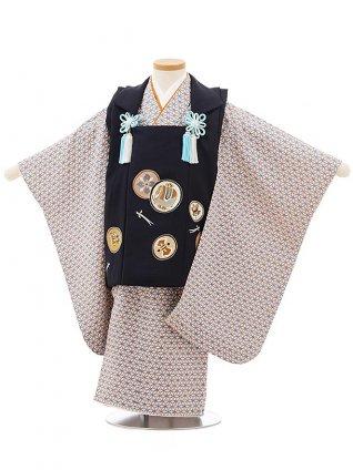 七五三レンタル(3歳男児被布)正絹2398黒丸紋×うすパープル変わり市松