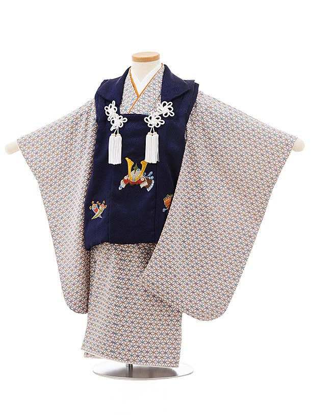 七五三レンタル(3歳男児被布)正絹2399なす紺刺繍兜×薄パープル変わり市松