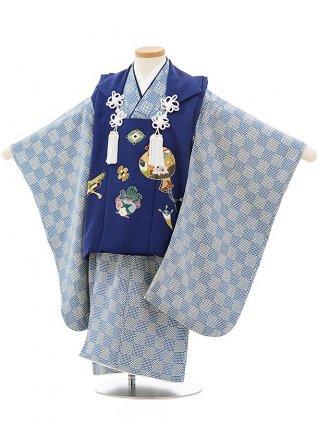 七五三レンタル(3歳男児被布)正絹2403ブルー