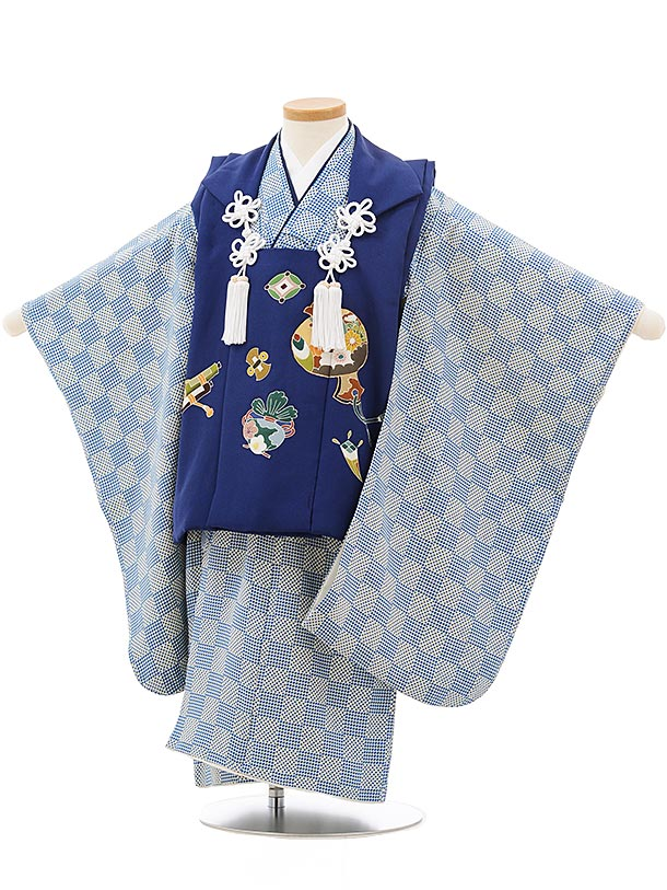 七五三レンタル(3歳男児被布)正絹2403ブルー小槌×ブルー地変わり市松