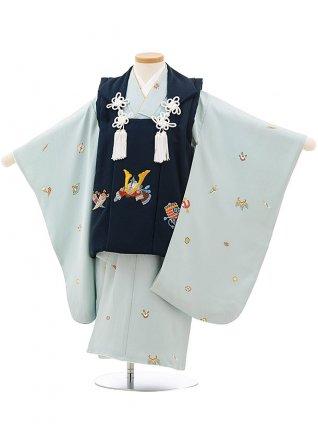 七五三レンタル(3歳男児被布)正絹2405紺刺繍兜×パステルグリーン宝尽くし