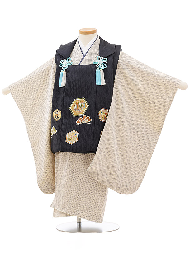 七五三レンタル(3歳男児被布)正絹2406グレー亀甲小槌×グレー疋田柄