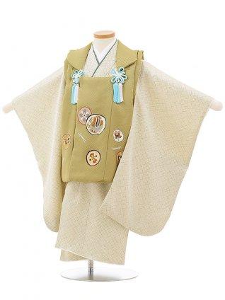七五三レンタル(3歳男児被布)正絹2408抹茶色丸紋×グリーン疋田柄