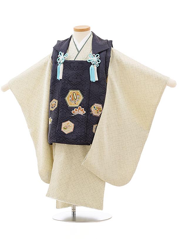 七五三レンタル(3歳男児被布)正絹2409グレー亀甲小槌×グリーン疋田柄