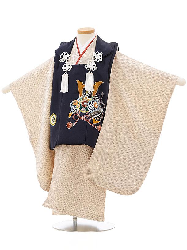 七五三レンタル(3歳男児被布)正絹2410紺丸紋×茶色疋田柄
