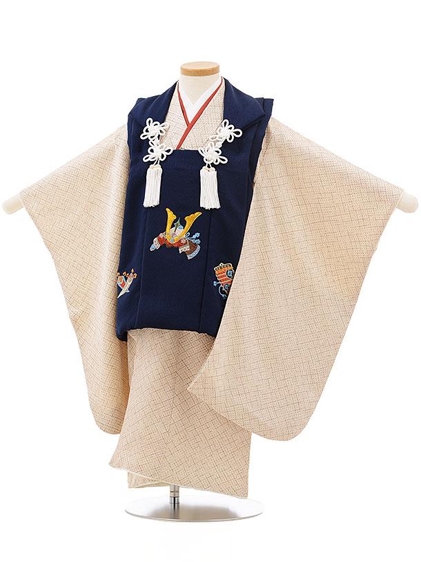 七五三レンタル(3歳男児被布)正絹2411紺刺繍かぶと×茶色疋田柄