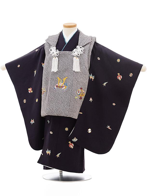 七五三レンタル(3歳男児被布)正絹2412グレー疋田刺繍かぶと×なす紺宝尽くし