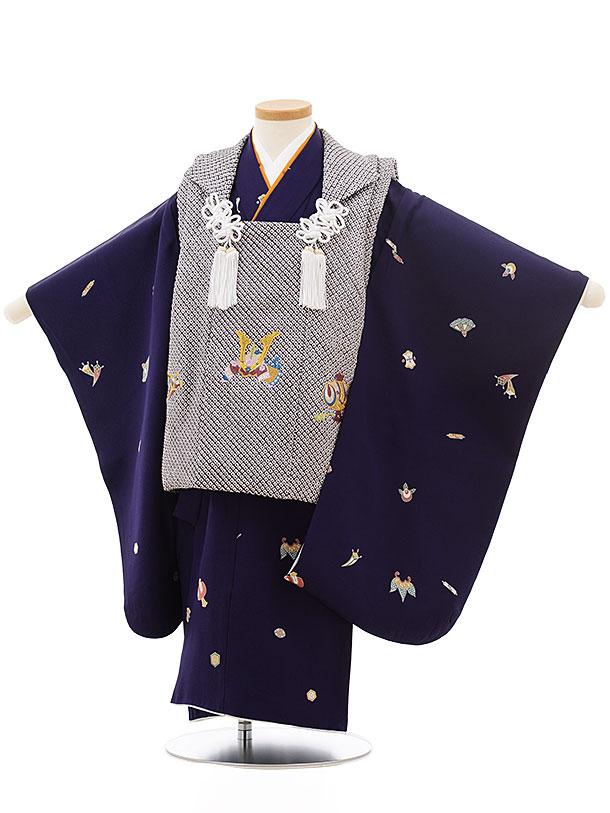 七五三レンタル(3歳男児被布)正絹2414疋田刺繍兜×パープル宝尽くし
