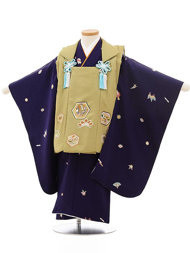 七五三レンタル(3歳男児被布)正絹2415抹茶色亀甲小槌×濃紫宝尽くし