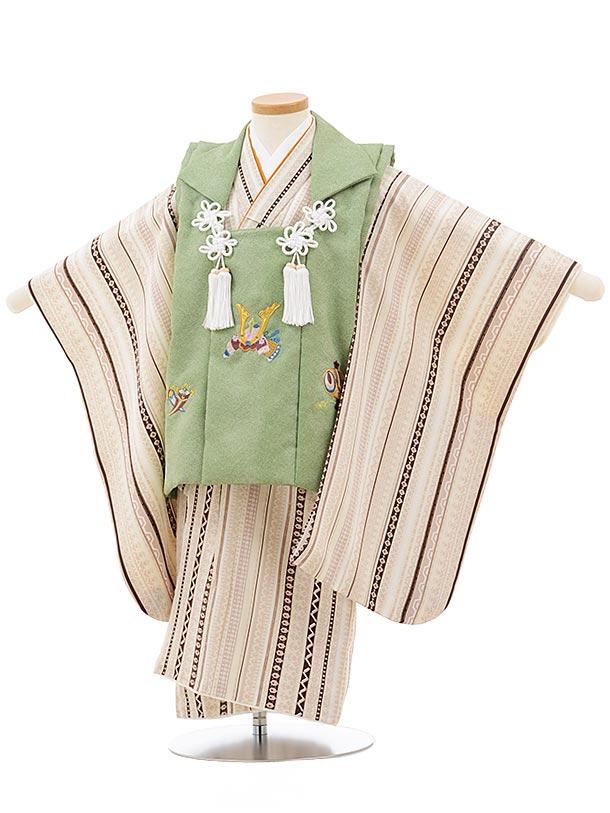 七五三レンタル(3歳男児被布)2416黄緑刺繍兜×ベージュ変わりストライプ