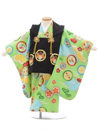 七五三レンタル(2歳男児被布)2427黒刺繍丸紋×黄緑丸紋