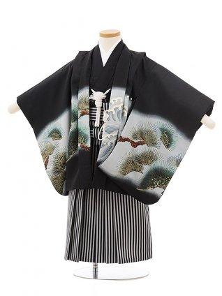 かんたん七五三レンタル(3歳男袴)2435黒地龍にかぶと×黒縞袴