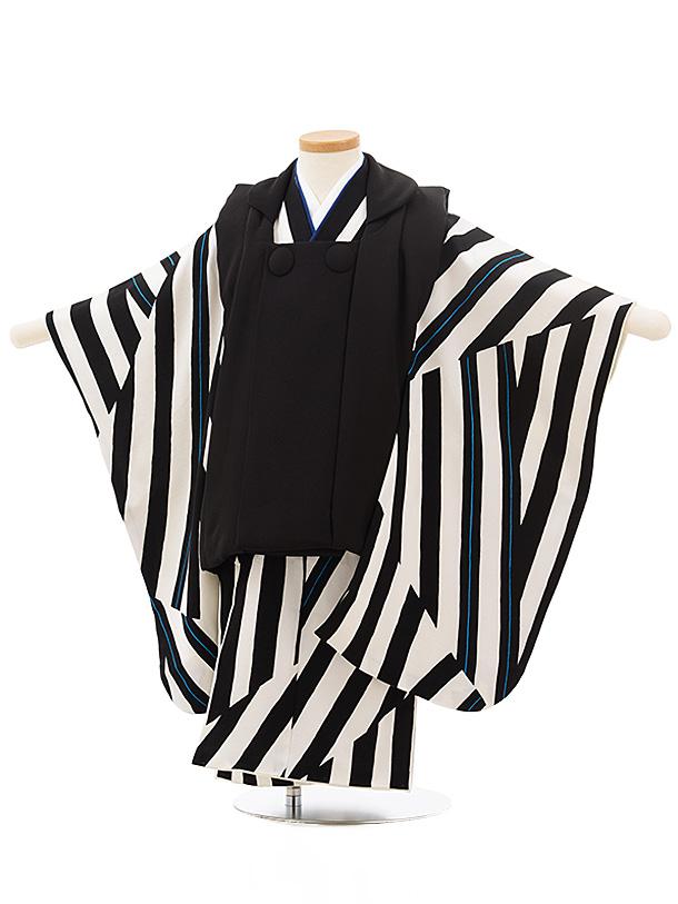七五三レンタル(3歳男児被布)正絹2437黒×白黒変わりボーダー