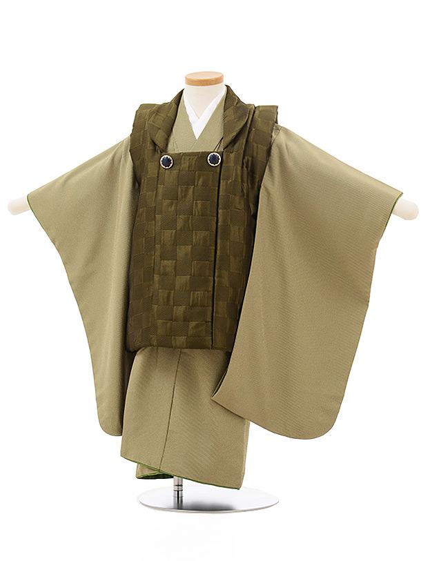 七五三レンタル(3歳男児被布)2440深緑×抹茶色ピンストライプ