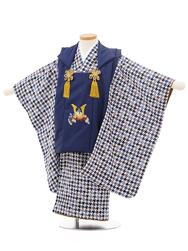 七五三レンタル(3歳男児被布)2441ブルーかぶとししゅう×ブルー系千鳥格子