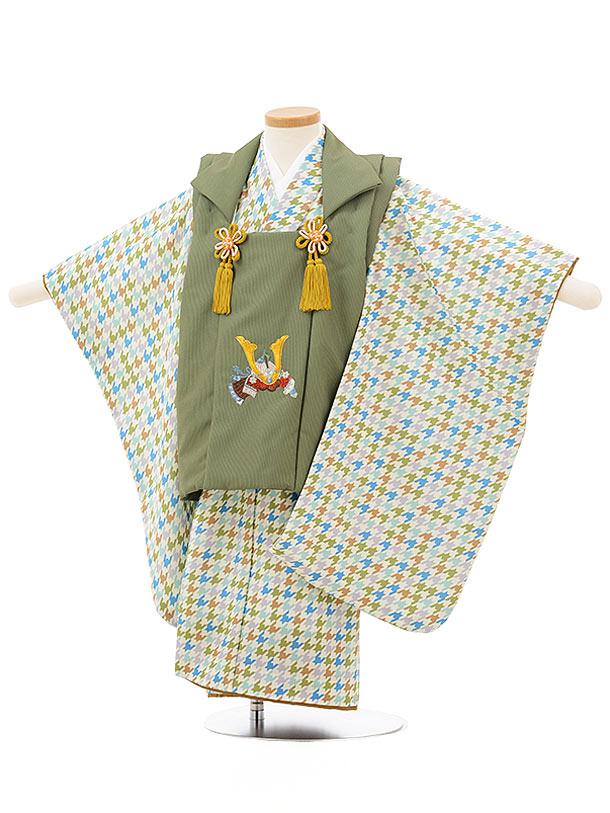 七五三レンタル(3歳男児被布)2442グリーンかぶとししゅう×グリーン系千鳥格子