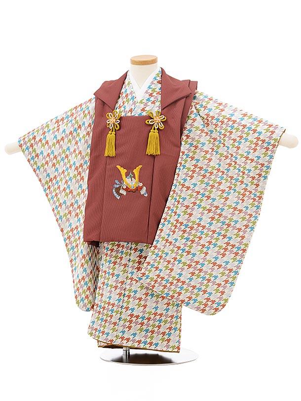 七五三レンタル(3歳男児被布)2443赤茶かぶとししゅう×多色千鳥格子