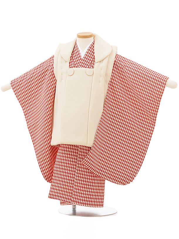 七五三レンタル(3歳男児被布)2455クリーム色×赤千鳥格子