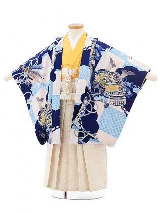 七五三レンタル(3歳男児袴)2457ぷちぷり白水色市松かぶと
