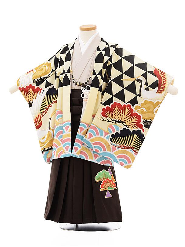 七五三レンタル(3歳男児袴)2460ぷちぷりクリーム地波松鶴